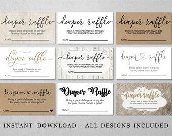 Printable Diaper Raffle Card Template - Baby Shower Invitation Insert - Digital File Instant Download - Rustic Calligraphy Heart Kraft Paper