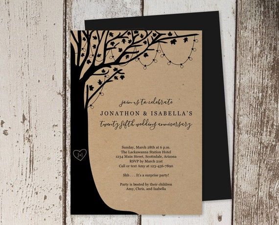 Wedding Anniversary Invitation Template Rustic Tree Wood String Fairy Light Printable Instant Download Digital File 25th 30th 40th 50th