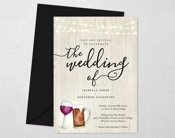 Beer & Wine Wedding Invitation Template, Printable Brewery Theme Invite, Toast, Light Wood, String Light, Instant Download Digital File PDF