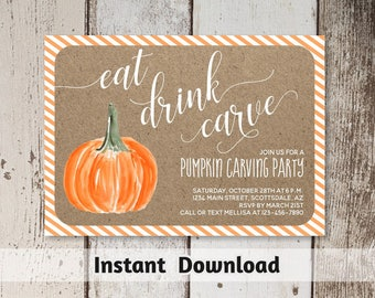 Pumpkin Carving Party Invitation Template - Printable Rustic Pumpkin Party - Halloween Fall - Instant Download Digital File PDF - 5x7