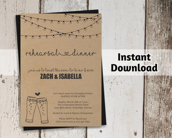 brewery rehearsal dinner invitation printable template etsy