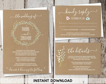 Wedding Invitation Template - Rustic Floral Foliage Wreath Printable Kraft Paper Set | Editable PDF Instant Download Digital File Suite