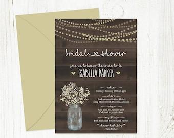 Bridal Shower Invitation Template - Printable Rustic Mason Jar, Baby Breath, Light, Wood - Wedding Shower Instant Download Digital File PDF