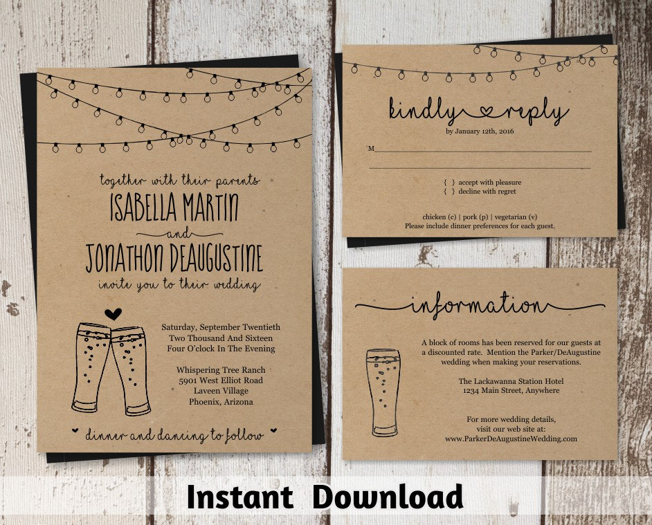 brewery wedding invitation template rustic beer pint glass toast