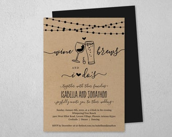 Wine & Brew and I Do Wedding Invitation Template, Wine Beer Toast, Brewery Invite, Rustic Kraft Paper, Instant Download Digital File PDF