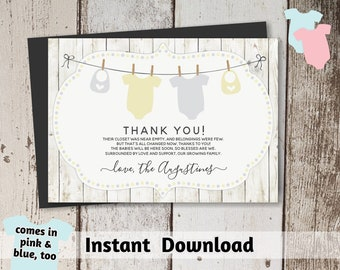 Printable Rustic Twins Baby Shower Thank You Card Template - Gender Neutral Boy Girl - Instant Download Digital File PDF - yellow pink blue