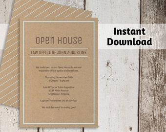 Printable Business Invitation Template - Open House Business Launch Networking Invitation on Kraft Paper - Instant Download Digital File PDF