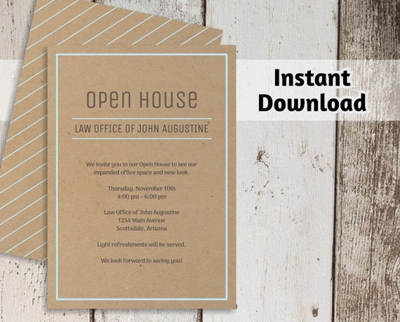 Printable business invitation template open house business etsy image 0 wajeb Gallery