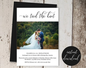 Wedding Marriage Elopement Announcement Template, Printable Photo Picture Eloped We Tied the Knot Invitation, Instant Download Digital File