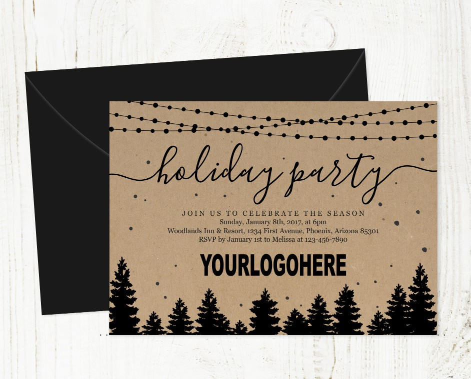 Add Business Logo Corporate Holiday Party Invitation Printable