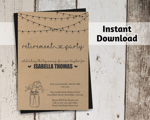 Retirement Party Invitation Template Printable Retirement Etsy