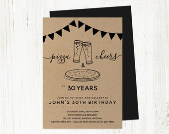 Pizza Cheers & Beers Birthday Invitation Template, Men Guy Adult Brewery Party Invite Instant Download, 21st 21 30th 30 40th 40 50th 50 Year