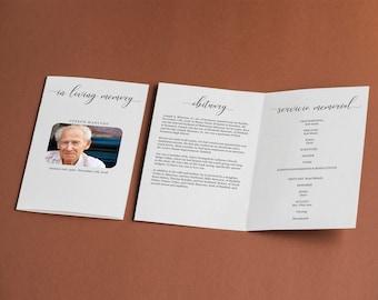Funeral Program Template -  Printable Memorial Service Pamphlet - Order of Service Bulletin - Editable Word Instant Download Folded Booklet