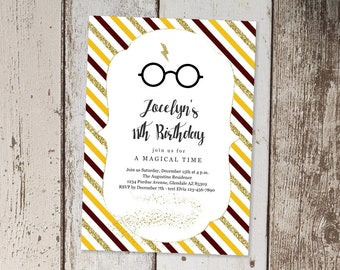 Magical Wizard Birthday Party, Glasses & Lightning Bolt Invitation Template, Printable Girls Theme Invite, Instant Download Digital File PDF