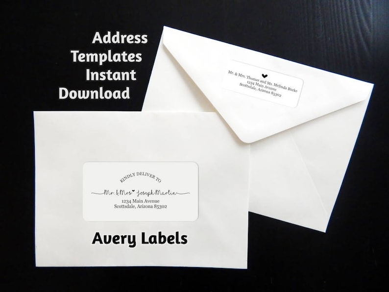 Printable Address Template For Envelope Labels Avery 2 X Etsy