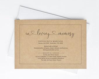 Funeral Announcement Invitation Template, Printable Memorial Service Invite, Mass Card Invite, Kraft Paper, Instant Download Digital File
