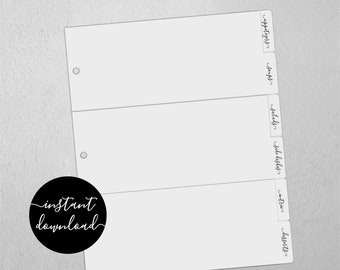 """Editable Recipe Binder Divider Template - Printable Full Page Size 8.5"""" Wide, Organizer Category Tab, Easy Digital File Instant Download PDF"""