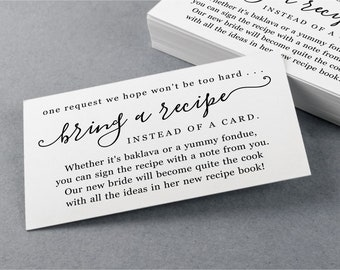 Please Bring Recipe Instead of a Card Request, Printable Template for Bridal Shower, Invitation Insert Enclosure - Digital File Download