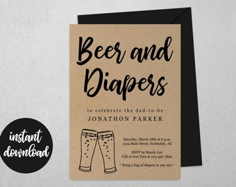 Beer and Diaper Party Invitation Template - Printable Daddy / Guys / Men Baby Shower Invite & Evite, Instant Download Digital File PDF