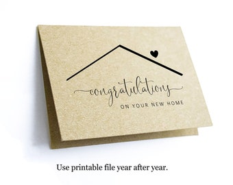 Printable Congratulations New Home Card Template, Blank Folded Congrat Notecard, Realtor Real Estate Agent Note Instant Download Digital PDF