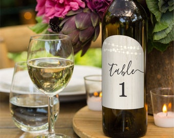 Wine Table Number Template - Printable Wine Bottle Centerpiece Table Card - Winery Wedding Anniversary Party - Editable PDF Instant Download