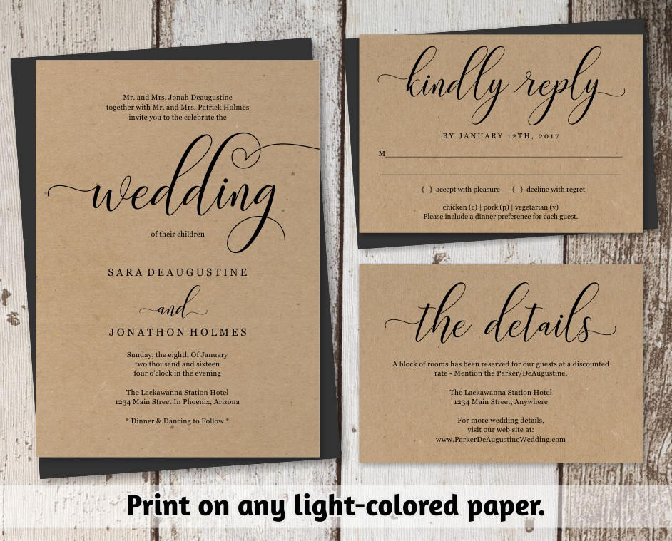 Traditional Wedding Invitation Templates: Traditional Wedding Invitation Template Printable Set