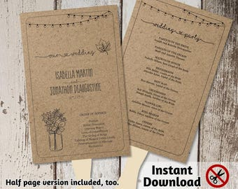 Printable Fall Wedding Program Fan Template - Rustic Mason Jar, Fairy Light, Floral Leaves, Kraft Paper - PDF Instant Download - Half page