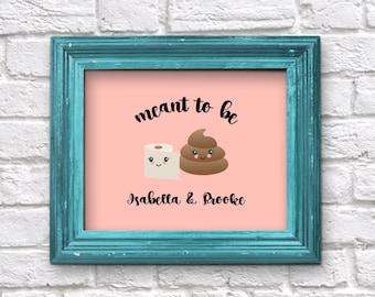 Personalized Best Friend Gift, Printable Last Minute Wall Art, Poop & TP (Toilet Paper), Couple Boyfriend Girlfriend Print, Instant Download