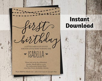 Girls First Birthday Invitation - Printable Template - Rustic Calligraphy Kraft Paper - Instant Download Digital File - 1st Birthday Invite