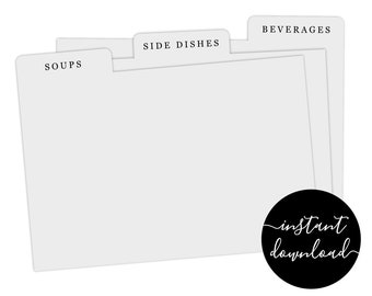 Editable Recipe Card Divider Template - Printable Index Card Size 3x5 4x6 5x7 Easy Category for Recipe Box Digital File Instant Download PDF