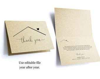 Editable Realtor Thank You Card Template, Printable Home  Thanks Real Estate Agent Note, Folded Notecard, Digital File Instant Download PDF