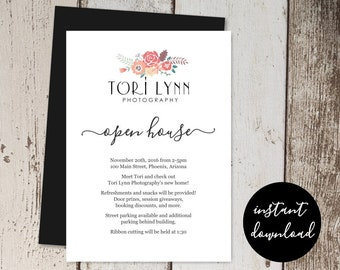 Business Invitation Template - Printable Open House Business Launch Announcement Networking Event Invite - Instant Download Digital File PDF
