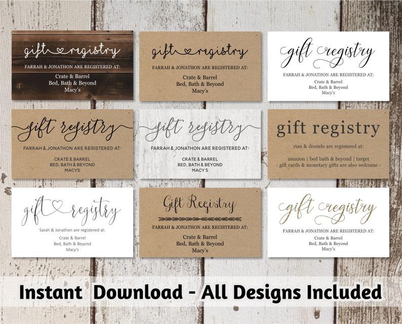 Printable Wedding Registry Card Template  Printable Rustic / image 0