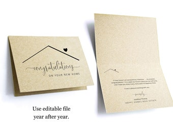 Editable Congratulations New Home Card Template, Printable Folded Congrat Notecard, Realtor Real Estate Agent Note Instant Download Digital