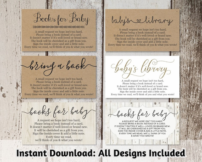 Printable Baby Shower Book Request Bring A Book Instead Of A Card Etsy