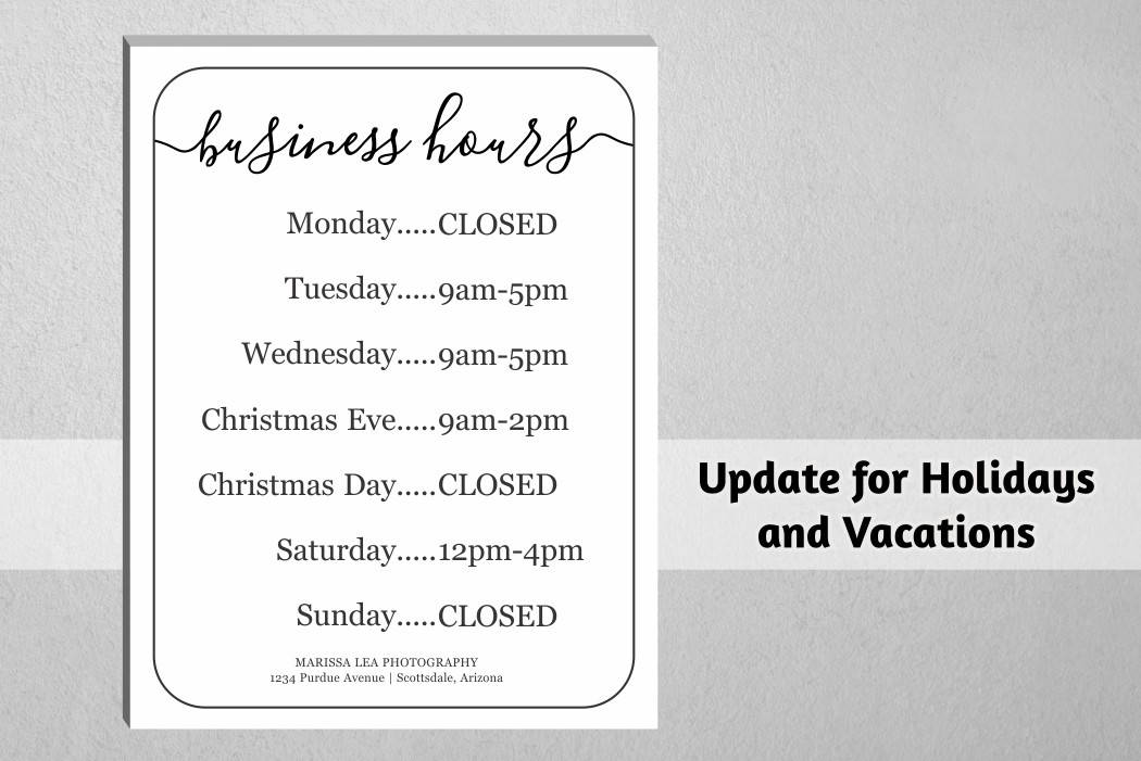 photo about Printable Business Hours Sign known as Small business Hrs Indicator, Printable Template, Hrs of Medical procedures