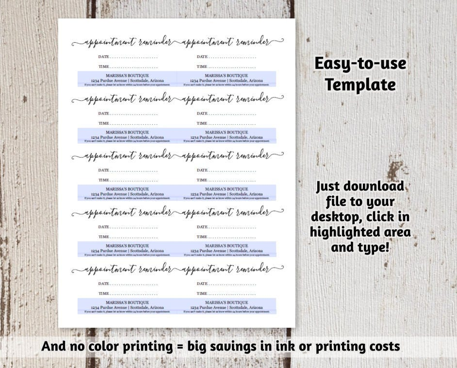 It is an image of Adorable Free Printable Appointment Reminder Cards