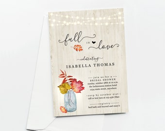 Fall in Love Invitation Template, Couple / Bridal Shower, Engagement Party, Rehearsal Dinner, Reception Only, Printable Rustic Download File