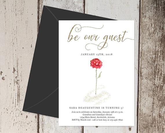 Beauty The Beast Birthday Invitation Template Printable Etsy