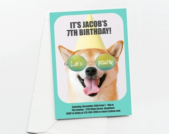 Dog Invitation Template - Printable Cool Dog Birthday Party Invite & Evite - Puppy Instant Download Digital File - Girl / Boy Tween Funny