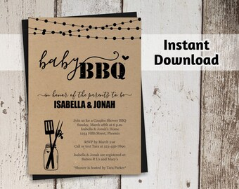 Baby BBQ Invitation Template - Printable Couples Baby Q Barbeque Shower - Rustic Mason Jar, Kraft Paper, Instant Download PDF File - Printed