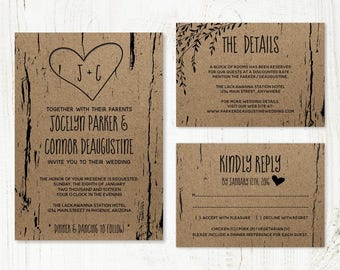 Wedding Invitation Template - Printable Rustic Tree / Wood Carved Hearts & Initials - Kraft Paper Set | Instant Download Digital File Suite