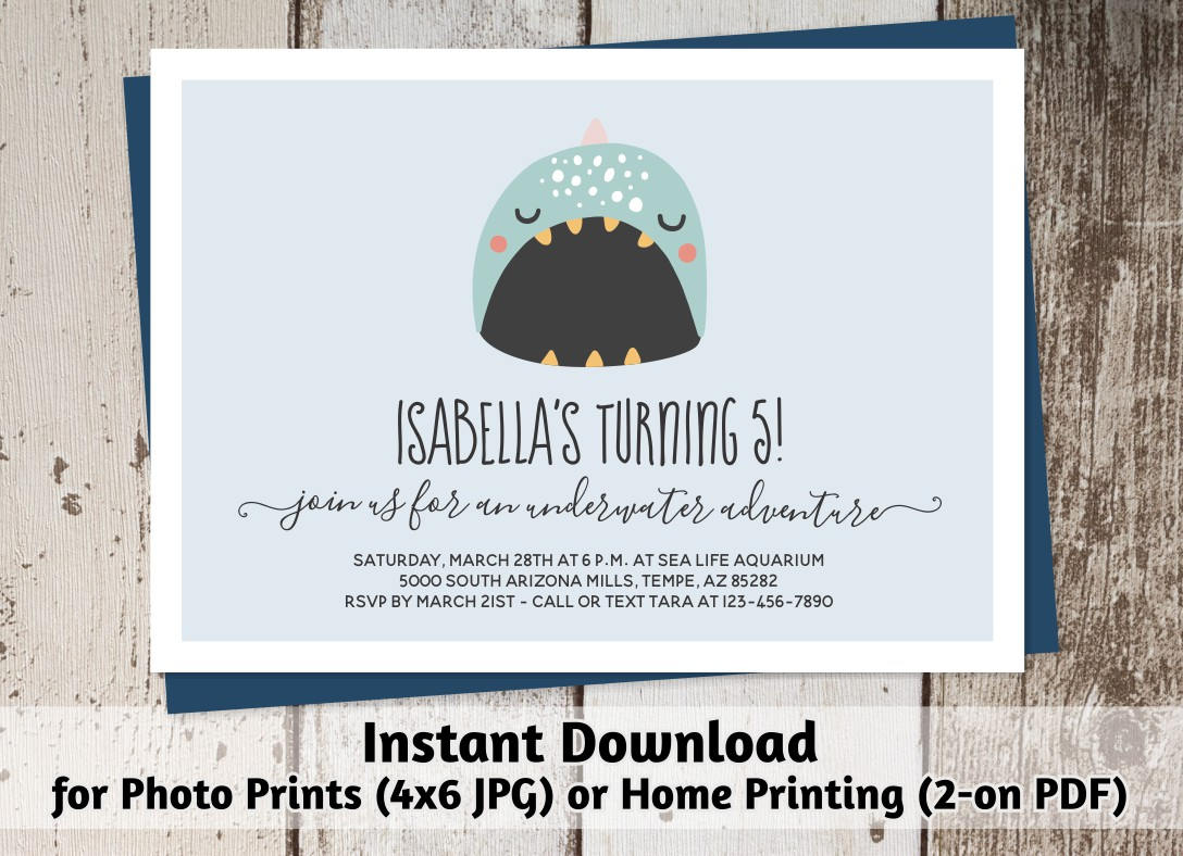 Printable Aquarium Invitation - Girl / Boy Cute Narwhal Birthday ...