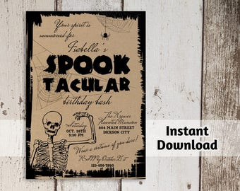 Printable Halloween Party Invitation Template - Adult or Kids - Kraft Paper - Digital File Instant Download - Scary Themed Birthday Party