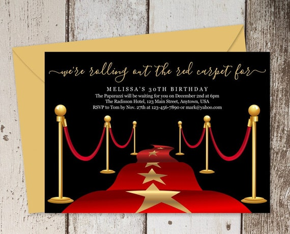 Printable Red Carpet Invitation Template Hollywood Theme Etsy