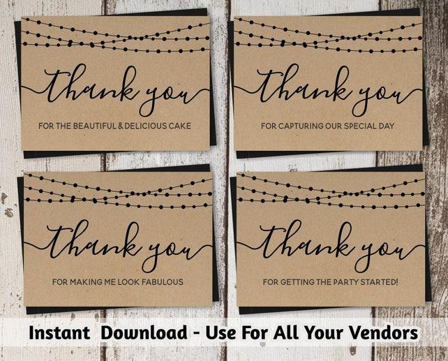 Wedding Vendor Thank You Card Template Printable Tip Card