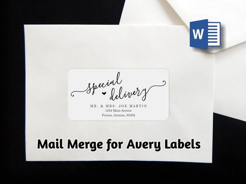 Mail Merge Envelope Label Address Template - Avery 2 x 4