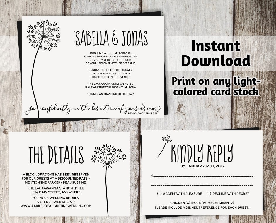 Rustic Dandelion Wedding Invitation Template