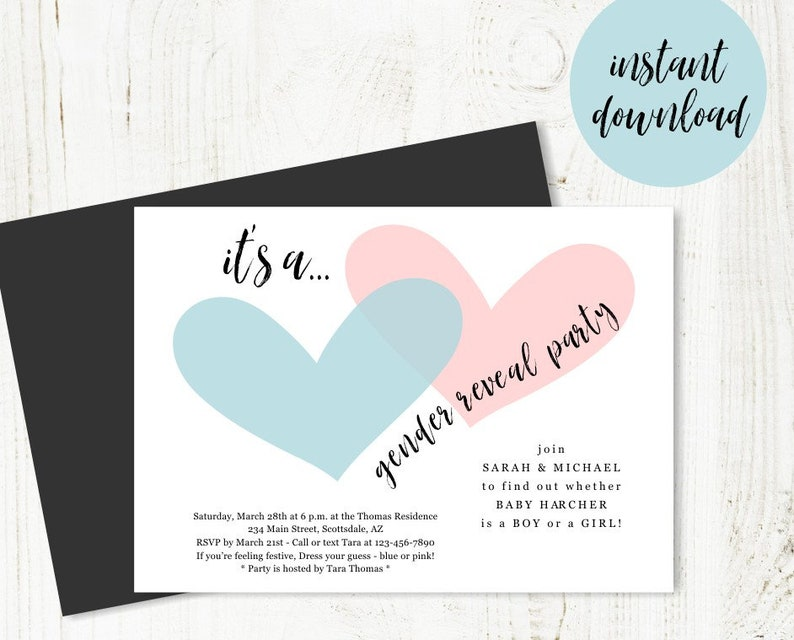 Gender Reveal Invitation Template Download Printable Invite Simple Pink Blue Hearts Instant Digital File DIY 5x7 PDF