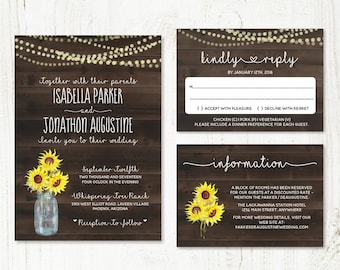 Sunflower Wedding Invitation Template - Rustic Baby Breath, Mason Jar, Lights & Wood Printable Set | PDF Instant Download Digital File Suite